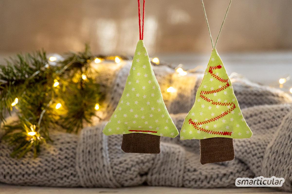 Geschenkverpackungen zu nähen, ist eine gute Möglichkeit, um Verpackungsmüll zu vermeiden. Hier findest du Ideen für wiederverwendbares Geschenkpapier, Bänder und Anhänger.