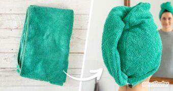 Aus einem alten Handtuch einen Haarturban zu nähen, ist viel praktischer als zum Haaretrocknen ein Handtuch um den Kopf zu wickeln, das immer wieder herunterrutscht.