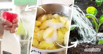 Kartoffelwasser enthält Stärke und andere gesunde Vitalstoffe. Statt es wegzuschütten, kannst du das Kochwasser im Garten, für den Haushalt und zur Körperpflege verwenden.