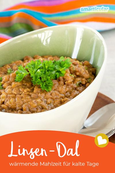 Linsen Dal wirkt durch die intensiven, scharfen Gewürze wärmend auf Körper und Seele und ist die ideale Mahlzeit für dunkle, regnerische Wintertage.