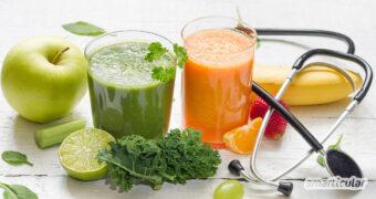Selbst gemachte Vitamin-Smoothies mit immunstärkenden Zutaten unterstützen die Abwehrkräfte. So kannst du einer Infektion vorbeugen und fit bleiben.