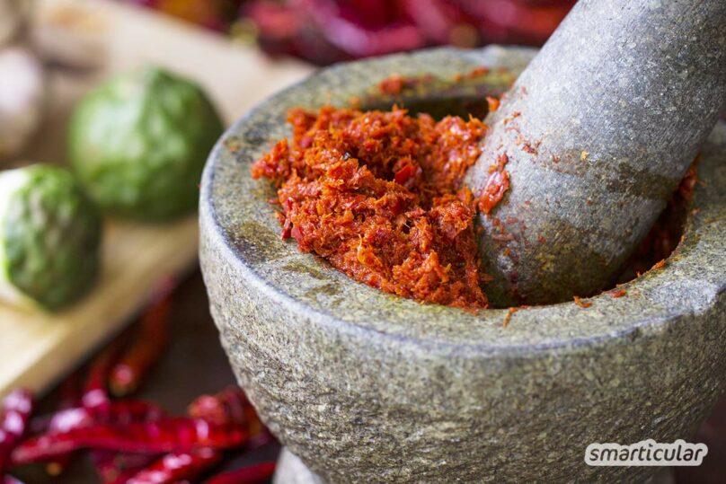 Mit fertiger Currypaste sind Thai-Currys und andere Curry-Gerichte im Nu zubereitet. Die Currypaste lässt sich einfach selber machen - ohne künstliche Zusätze.