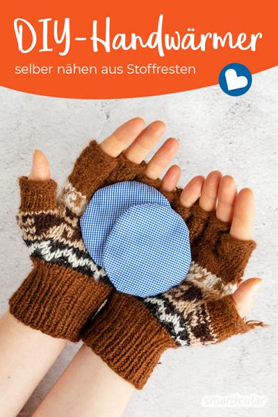 Um dir selbst einen Handwärmer zu nähen, benötigst du nur ein paar Stoffreste und Getreidekörner oder Leinsamen als Füllung. Für warme Hände im Winter!
