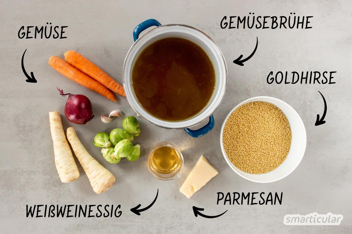 Als Alternative zu einem Risotto mit Reis aus Italien bietet sich ein cremiges Hirsotto mit regionaler Hirse an. Das Hirsotto wird ebenso einfach zubereitet.