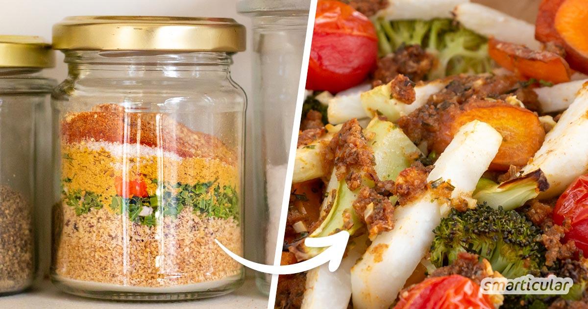 Ein herzhaftes Knusper-Topping verfeinert jedes Gemüsegericht! Es lässt sich im Handumdrehen auf Vorrat selber machen und einfach zubereiten.