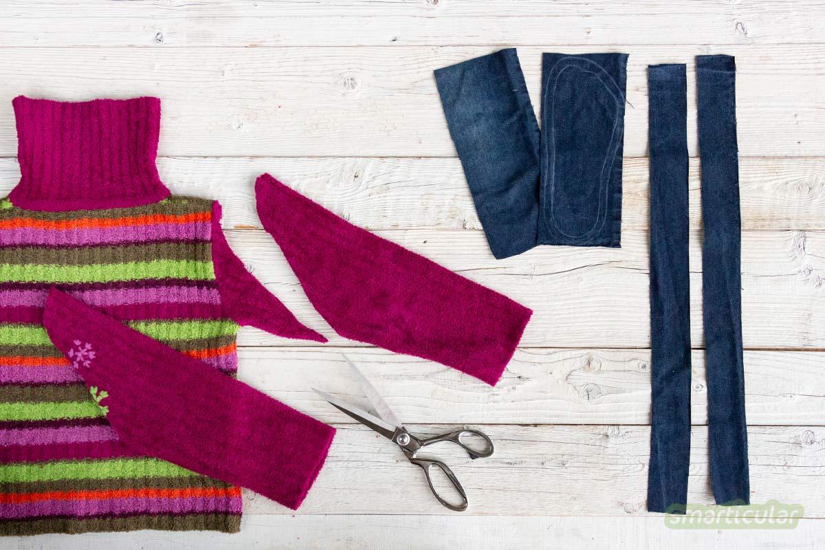 Aus alten Pullis etwas Neues zu machen, spart Geld und Müll - durch Pullover-Upcycling lassen sich Hüttenschuhe, Winteraccessoires, Kuschelkissen und mehr nähen.