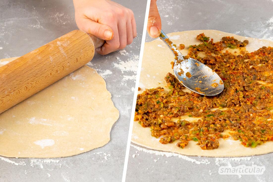 Mit dieser Abwandlung des bekannten türkischen Lahmacun gelingt dir die türkische Pizza auch vegan - mit braunen Linsen anstatt Hackfleisch.