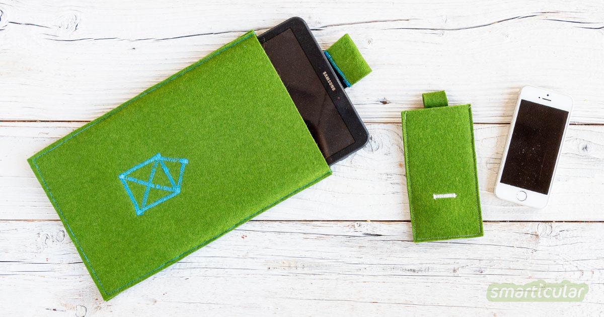 Aus einem Stück Filz lässt sich ganz einfach eine Tablet- oder Handytasche nähen - viel individueller und preiswerter als eine gekaufte Hülle!