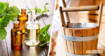Statt ihn zu kaufen, kannst du einen Saunaaufguss selber machen - mit Kräutern oder ätherischen Ölen lässt sich das Saunaaufgussmittel unendlich variieren.