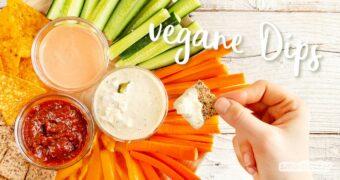 Köstliche Dips für Gemüse oder Cracker dürfen auf keiner Party fehlen! Hier gibt's die besten und schnellsten Rezepte für vegane Dips.