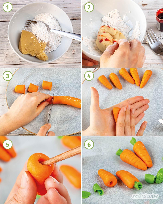 Ein veganer Karottenkuchen ohne Ei gelingt ganz leicht und schmeckt dank Apfelsaft statt Zucker und vielen geriebenen Möhren im Teig besonders frisch.