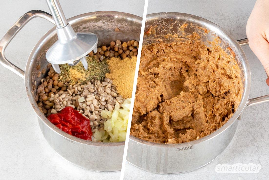 Linsenaufstrich selber zu machen, ist gar nicht schwer! Mit Majoran und anderen passenden Gewürzen schmeckt er fast wie grobe Leberwurst.