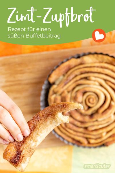 Ein Zupfbrot ist ein idealer Beitrag für Picknick oder Buffet. Dieses Rezept für ein süßes Zupfbrot begeistert außerdem mit seiner Blütenform.