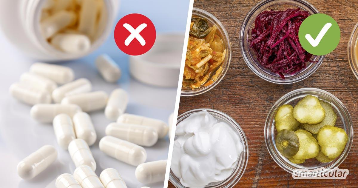 Probiotika sind gesund für Darmflora und Immunsystem. Viel besser als entsprechende Nahrungszusätze sind jedoch natürliche probiotische Lebensmittel.