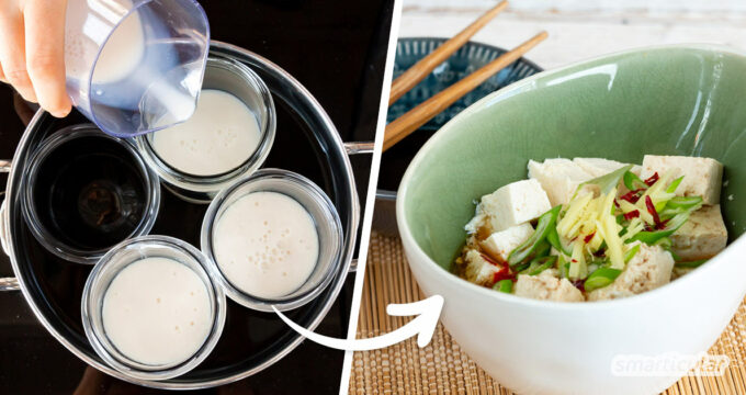 Aus nur zwei Zutaten lässt sich leicht cremiger Seidentofu selber machen - für vegane Cremes und Desserts. Mit diesem Rezept erfährst du, wie es geht!