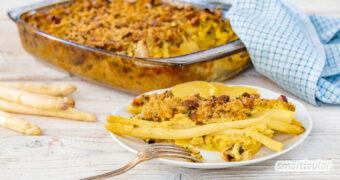 Diesen vegetarischen oder veganen Spargelauflauf mit Kartoffeln zauberst du mit minimalem Arbeitsaufwand, denn alle Zutaten werden ungekocht verarbeitet.