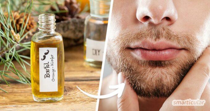 Bartöl selber zu machen, ist gar nicht schwer und bedarf nur zweier Zutaten, die Haut und Haar pflegen, schützen und den Bart wohlriechend beduften.