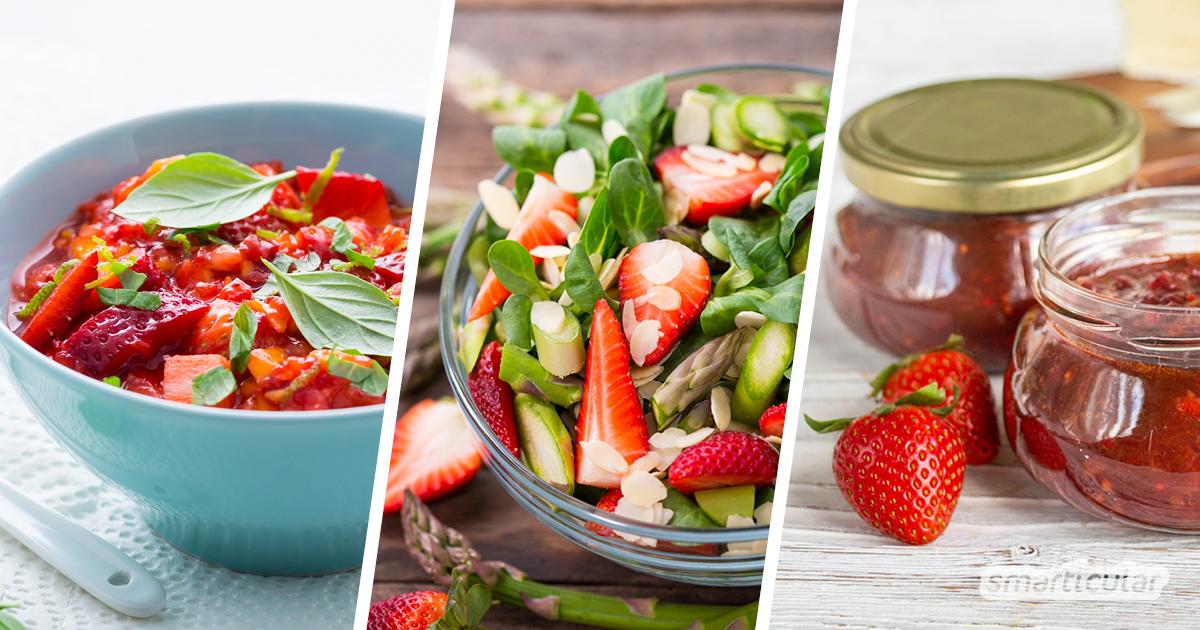 Wenn die Erdbeertorte zu langweilig wird, dann probiere diese ungewöhnlichen Erdbeerrezepte aus, um deine Ernte abwechslungsreich zu verwerten!