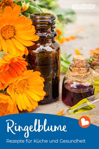 Die beliebte Ringelblume ist reich an heilsamen Inhaltsstoffen. Hier findest du zahlreiche Rezepte für die Hausapotheke sowie Ideen für die Küche.
