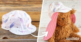 Einen Sonnenhut mit Nackenschutz kannst du leicht aus einer Babymütze nähen! Mit dieser einfachen Anleitung, ganz ohne Schnittmuster.