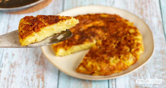 Tortilla vegan herzustellen, gelingt mit Kichererbsenmehl statt Ei. Sie ist damit mindestens ebenso lecker wie das klassische Pendant.