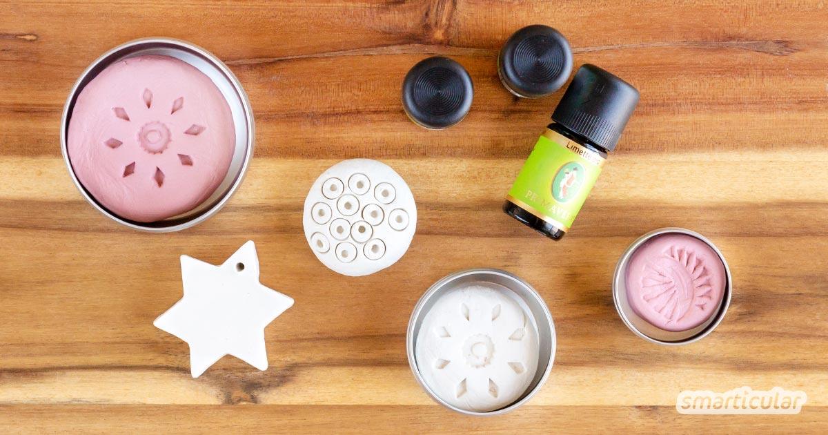 Mit wenig Aufwand lassen sich Duftsteine selber machen: du brauchst nur lufttrocknenden Ton und ätherische Öle. So gelingen dir richtig kreative Duftträger!