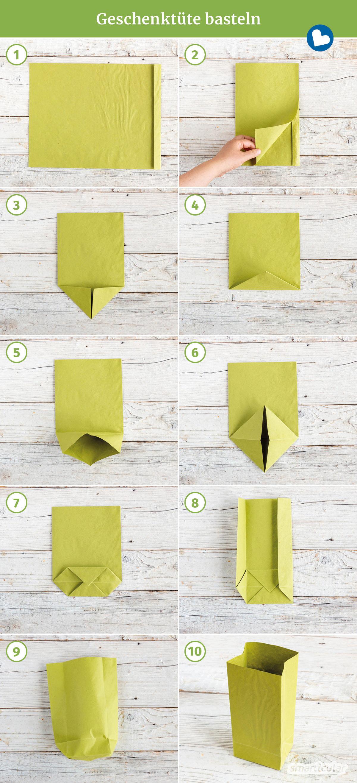 Aus einem Stück Papier und etwas Kleber lässt sich mit nur wenigen Handgriffen eine Geschenktüte basteln, die immer wieder verwendet werden kann.