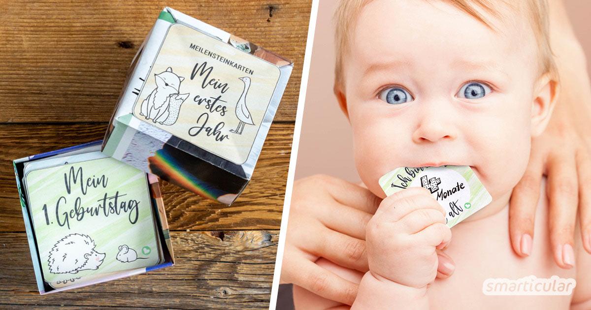Individuelle Meilensteinkarten fürs Baby sind mit dieser kostenlosen Druckvorlage schnell gemacht und geben ein hervorragendes Geschenk zur Geburt ab.