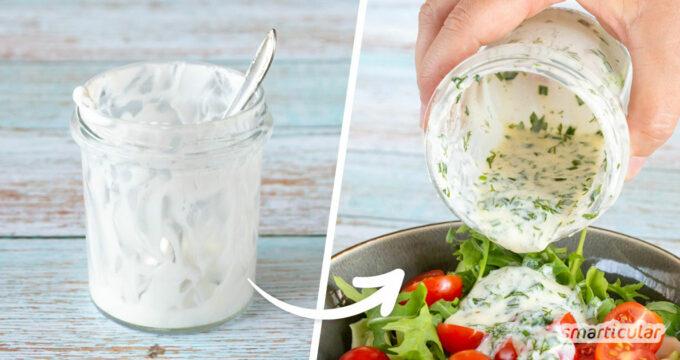 Statt Reste in Joghurt-, Honig- oder Senfgläsern mühsam auszukratzen oder zu entsorgen, lässt sich mit passenden Salatdressing-Rezepten direkt im Glas ein Schütteldressing machen.