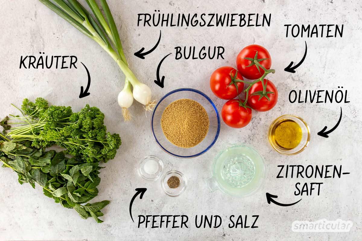 Aus frischen Kräutern und Gemüse der Saison lässt sich blitzschnell eine sommerliche Taboulé zaubern - immer ein bisschen anders, immer köstlich.