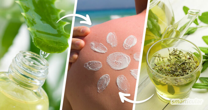 Leichter bis mittelschwerer Sonnenbrand lässt sich mit Hausmitteln lindern. Bei Sonnenbrand mit Blasenbildung suche vorsichtshalber einen Arzt auf.