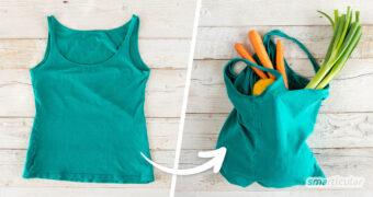 Ein altes Trägertop braucht nicht in den Müll zu wandern. Aus dem Shirt lässt sich mit nur einer Naht ein praktischer Beutel nähen.