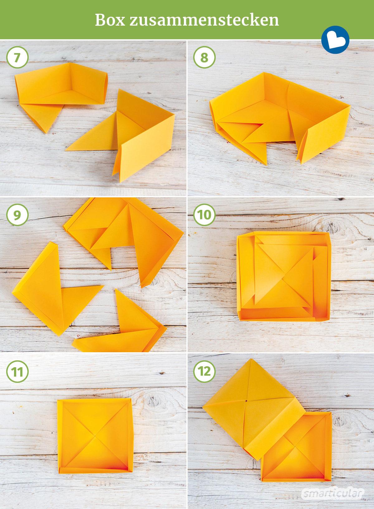 Statt Geschenkpapier oder eine Schachtel mit Deckel zu kaufen, kannst du aus (Alt-)Papier eine Origami-Box ganz einfach selber falten.