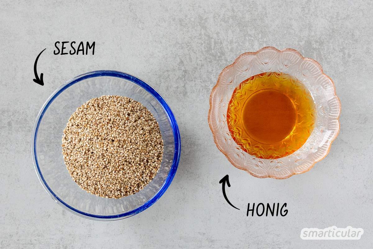 Pasteli, die knackigen Sesamriegel, lassen sich ganz einfach selber machen und beliebig variieren - für mehr Geschmack und weniger Verpackungsmüll.