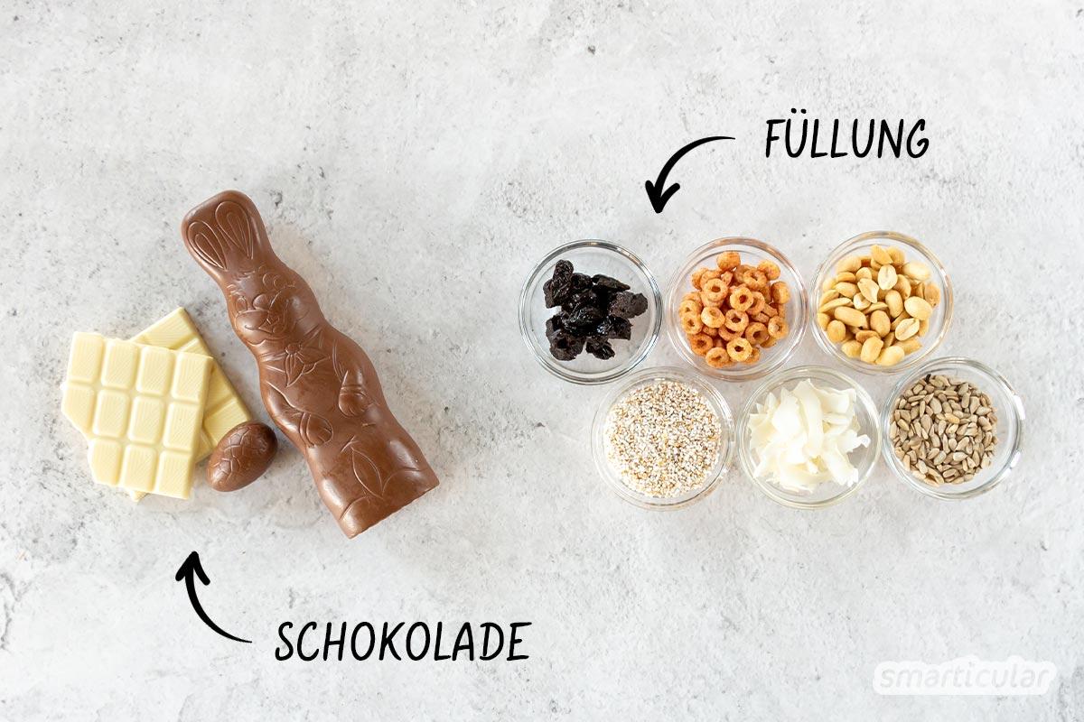 Aus Schokoladenresten lassen sich ganz leicht individuelle Schokoriegel selber machen, mit Zutaten die du nach Geschmack und Verfügbarkeit abwandeln kannst.