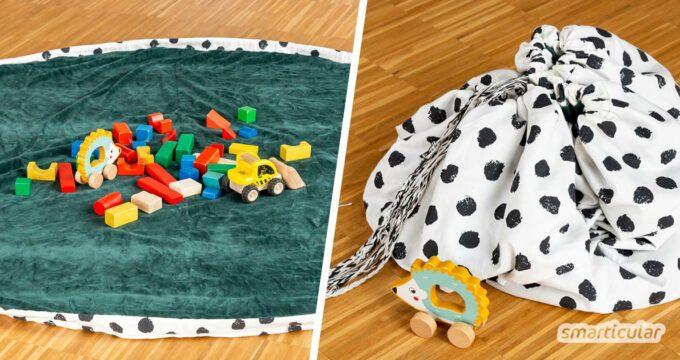 Aufräumen in Sekundenschnelle? Das geht! Mit dieser Anleitung lässt sich dafür aus einer ungenutzten Tischdecke oder einem alten Vorhang ein Spielzeugsack nähen.