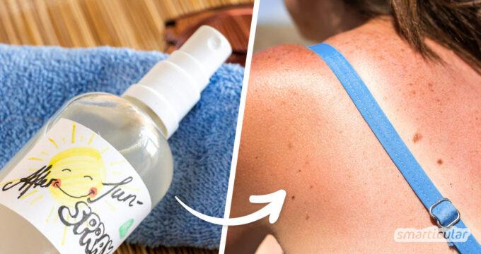 Im Sommer tankt die Haut gern mal mehr Sonne als sonst. Dieses selbst gemachte After-Sun-Spray kühlt und beruhigt die Haut auf wohltuende Art und Weise.