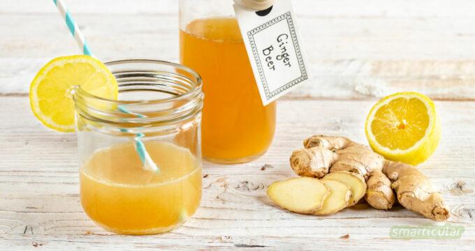 Mit unserem Ginger-Beer-Rezept gehört Kästenschleppen der Vergangenheit an. Die süß-scharfe Limonade lässt sich mit wenigen Zutaten selber hermachen.