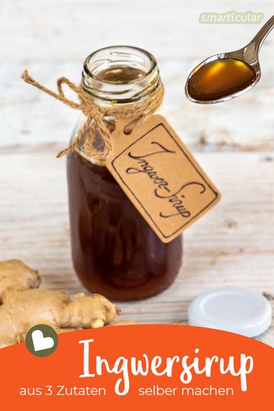 Ein einfaches Ingwersirup-Rezept: Mit Ingwer, Zucker und Wasser kannst du einen leckeren Ingwersirup selber machen. Der versüßt (fast) jede Speise.