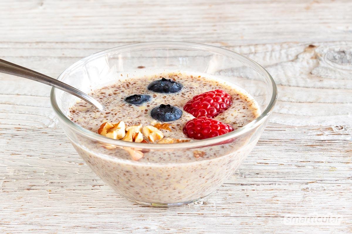Leinsamen-Pudding ist eine nachhaltige Alternative zu Chia-Pudding, die auch noch richtig lecker schmeckt und sich kinderleicht zubereiten lässt.