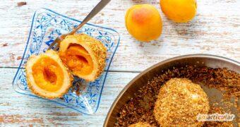 Marillenknödel mit Kartoffelteig bestehen aus saisonalen und regionalen Zutaten, sind zufällig vegan und obendrein auch noch für die Resteküche geeignet.