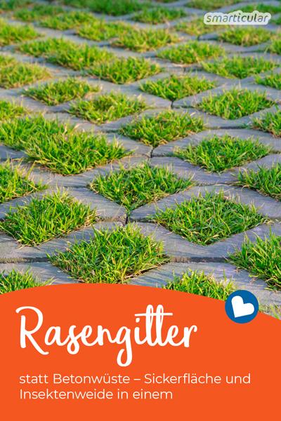 Auf Rasengittersteinen statt einer Betonfläche lassen sich Autos und Co. ebenso gut parken. Regenwasser kann weiterhin versickern und Insekten finden Nahrung.