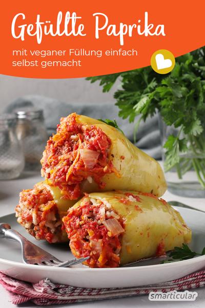 Gefüllte Paprikas (vegan) lassen sich ganz einfach zu Hause selber machen, ganz ohne Hackfleisch mit einer köstlich, veganen Füllung, die je nach Geschmack abgewandelt werden kann.
