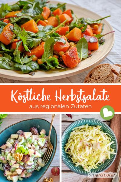 Herbstsalate sind alles andere als langweilig! Nach den heißen Sommermonaten haben viele regionale Gemüse und Früchte Hauptsaison und sorgen für gesunde Abwechslung.