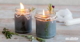 Mit ein wenig Kräutern, Kerzenresten und Kerzendochten bzw. einer gewöhnlichen Baumwollschnur lassen sich duftende Kerzen selber machen. Sieh selbst!