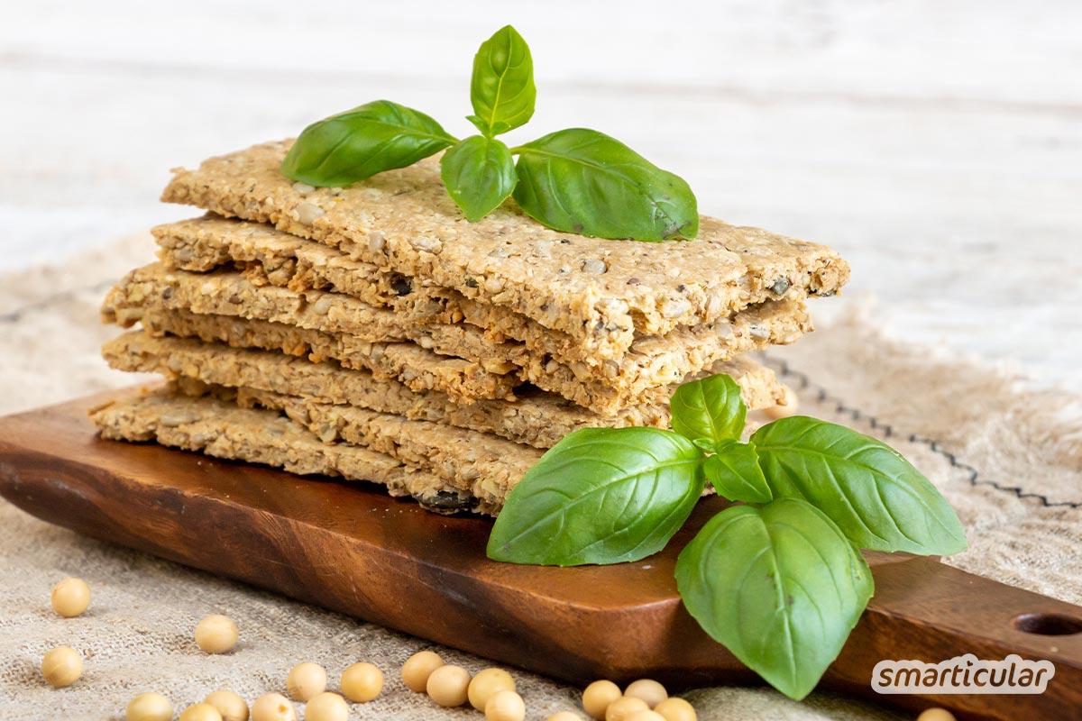 Okara-Rezepte: Knäckebrot, Tempeh, vegane Nuggets oder auch süße Kekse … So viel lässt sich aus den Resten der Sojamilchherstellung noch machen!