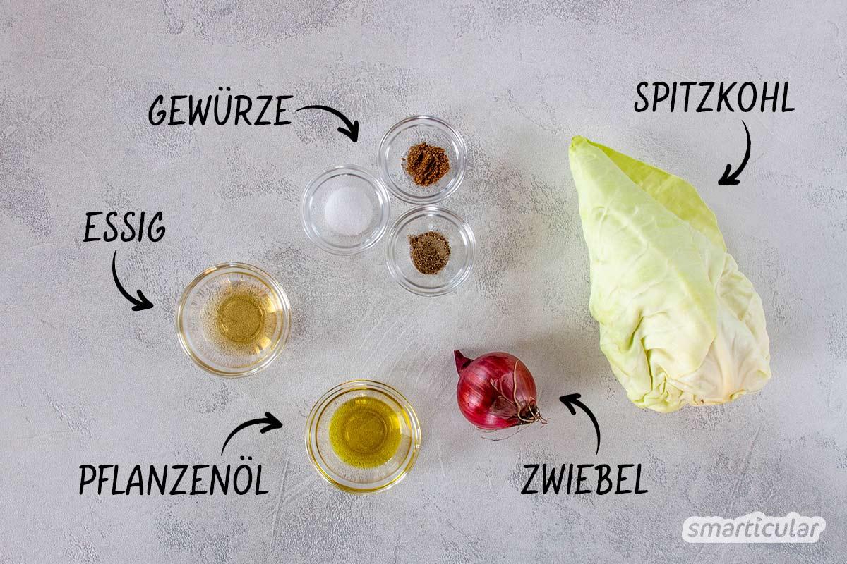 Mit seinen zarten Blättern eignet sich der Spitzkohl perfekt für die rohköstliche Küche. Aus wenigen Zutaten lässt sich ein schmackhafter Spitzkohlsalat zaubern.