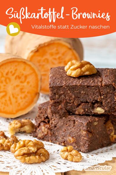 Naschen ohne Reue: Dieses Rezept für Süßkartoffel-Brownies ist einfach zuzubereiten, liefert jede Menge Vitalstoffe und kommt ganz ohne Industriezucker aus.