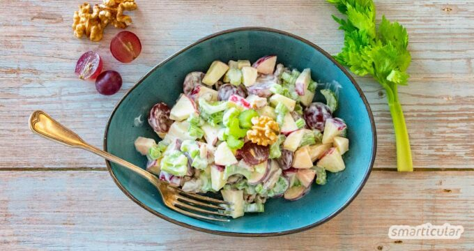Waldorfsalat ist ein Rezeptklassiker mit herbstlichen Zutaten und eignet sich deshalb perfekt als köstlicher Vitalstoff-Lieferant für die saisonale Küche.