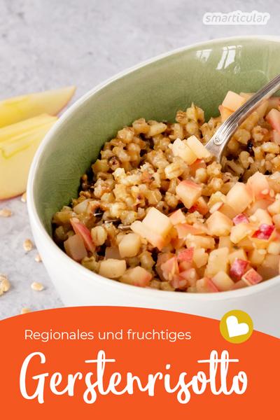 Mit diesem Gerstenrisotto Rezept hast du ein fruchtig-pikantes und veganes Gericht aus regionalem Getreide und kannst auf Reis verzichten.